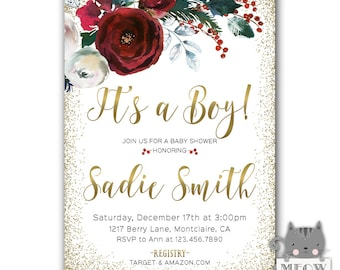 Christmas Baby Shower Invitation, Winter Baby Shower Invite for a Boy or Girl, Printable, Cranberry, Gender Neutral, Cranberry, Gold, White