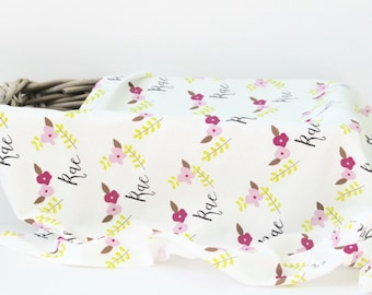 Personalized Swaddle Blanket - Personalized baby swaddle - Personalized hat -Personalized Baby Gifts -Swaddle blanket girls - Organic baby