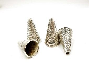 4 Antik Silber Kegel Perle/Quaste Caps - 20-2-2