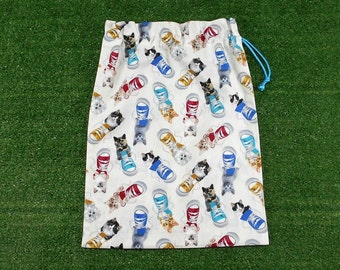 Cotton drawstring shoe bag, cats & gym boots medium drawstring bag, toy bag