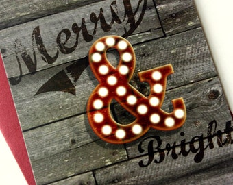 Set of 8 - Holiday Cards / Christmas Cards - Ampersand Merry & Bright - reclaimed wood pallet background