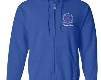 Pancreatic Cancer Awareness Zip Up Hoodie/Zip Up Sweatshirt /Pancreatic Cancer Awareness Personalization Sweatshirt- PRN-306