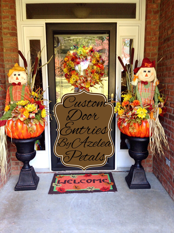 Custom fall door entrance decor scarecrow front door description custom fall door entrance rubansaba