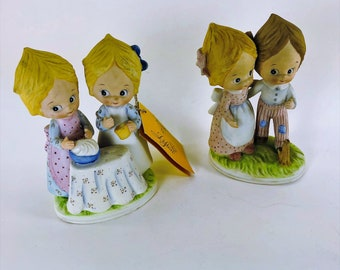 "2 Lefton Figurine ""Friends""1 has orig. paper hang-tag other blue crown stamp Vintage"