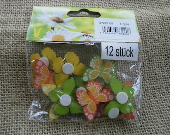 Bag of 12 wooden, yellow, green and orange butterflies, size 3 x 2.5 cm