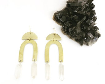 Mythos Arch Earrings with Quartz Crystals / Lilith of the South Collection