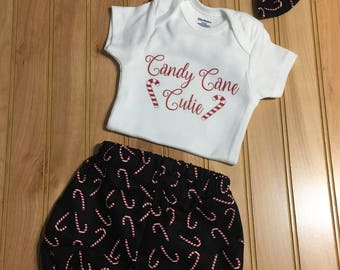 Candy Cane Cutie SHIRT or Onesie, Bloomers/Diaper Cover/Bow - Black/Red/White/Christmas/Candy Cane