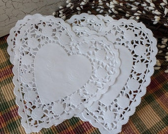 25 White 6 Inch  Heart Shaped Paper Doilies, gift wrapping, wedding favors, craft projects