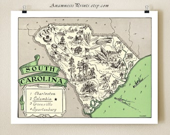 SOUTH CAROLINA MAP - fun 1930's vintage picture map to frame - perfect housewarming or wedding gift - size & color choices - personalize it