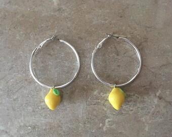 Yellow Lemon / Lemonade Fruit Charm Bright Yellow Medium Hoop Earrings Silver