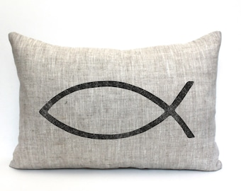 "ichthus pillow, Christian pillow, Christian gift, ""The Ichthus"""