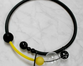 Black necklace, Yellow necklace,  Blown glass choker, Rubber chocker, Black choker, Bib necklace, Urban necklace, Statement necklace