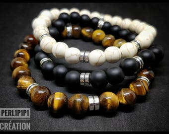 "Bracelet set Simply the ""ClassiBeads"" Onyx, turquoise or Tiger eye beads"