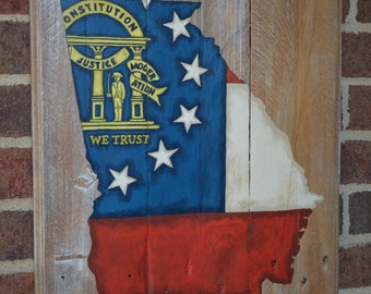 Georgia State Flag - Pallet Wood Sign-Pallet Board-Rustic Barnwood Decor-Man Cave-Flags-Shabby-Reclaimed Wood-Hand Painted