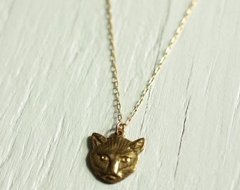 Cat Necklace with Brass and Gold Fill Animal Jewelry