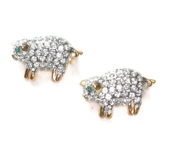 Pair of Rhinestone Pig Pins Clear Rhinestones Scatter Pins Animal Lover Gift