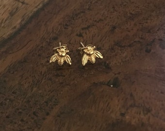Sterling Silver Gold plated Tiny cute Bumblebee Honey Bee earrings studs
