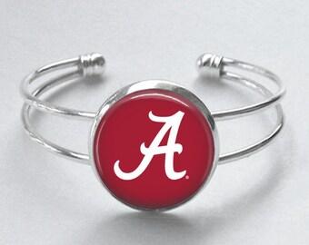 University of Alabama Cuff Bracelet/Alabama Bracelet/Alabama Jewelry/Crimson Tide Bracelet/Game Day Jewelry/Graduation Gift