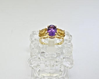 14k Gold, Citrine And Amethyst Ring. Size 5.75
