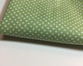 Green and White Polkadot Fabric