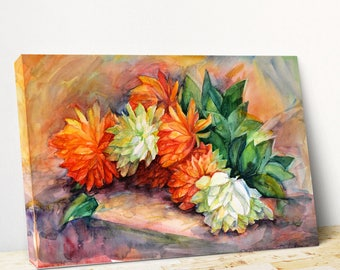 Flower canvas painting Flower canvas giclee Red flower canvas Bouquet canvas Canvas picture gift Yellow canvas art PaintingOnlineStore