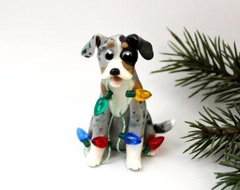 Catahoula Blue Leopard Dog PORCELAIN Christmas Ornament Lights