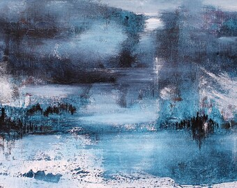 The wonder of the Angel - abstract landscape painting - acrylic painting on canvas 30 x 90 cm - Blue, white, gray, red orange