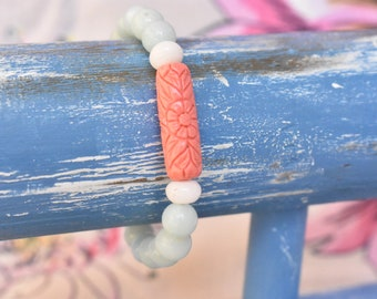 Carved Coral and Amazonite bracelet