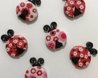LadyBug Love Magnets / Set of Six Lovely LadyBug Magnets / Animal Magnets