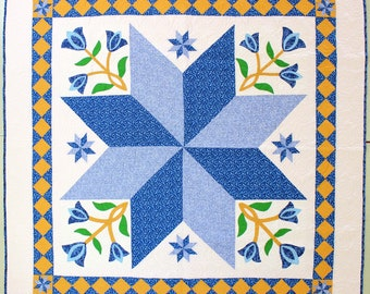 Lone Star with Hand Applique Tulip Boquets FINISHED QUILT Feather Quilting