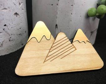 Mountain wood and acrylic brooch