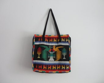 VINTAGE embroidered birds and cats TOTE BAG