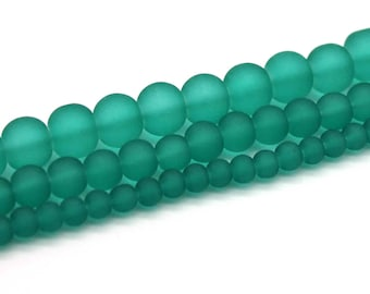 Teal Frosted Glass Bead Strands - Select Size: 4mm, 6mm, 8mm