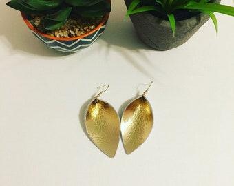 Gold metallic leather earrings