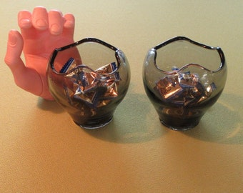 Vintage Viking Mid Century Matched Set Of 2 Small Vases/Bowls Smoke Gray Tone Excellent