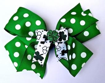 St. Patrick's Day Shamrock Pinwheel Bow