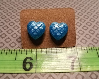 Mermaid | Dragon Scale Heart Earrings | Sky Blue