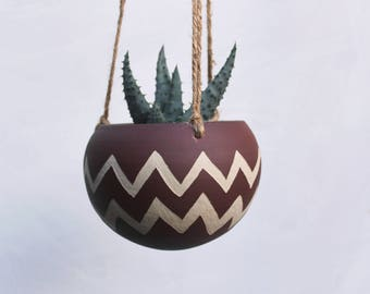 Ceramic Hanging Planter Zigzag - Carved Sgraffito - Boho Decor - Great gift for plant lover - Tribal Pattern Plant Pot