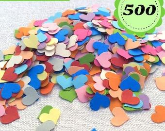 Confettis heart Multicolor - 500 heart- Scrapbooking - Party confetti - Hearts paper confetti - wedding confettis  table confetti - D1