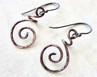 Dainty Copper Earrings - Hammered Copper Coiled Earrings  - Copper Hammered Earrings - Mother's Day Earrings - Bohemian Style Earrings
