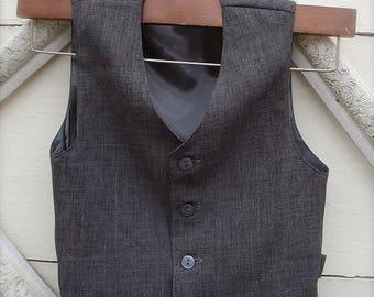 Short Style Vintage Charcoal Grey color vest, boys VEST, wedding vest for boys, ring bearer vest, photo prop for boys