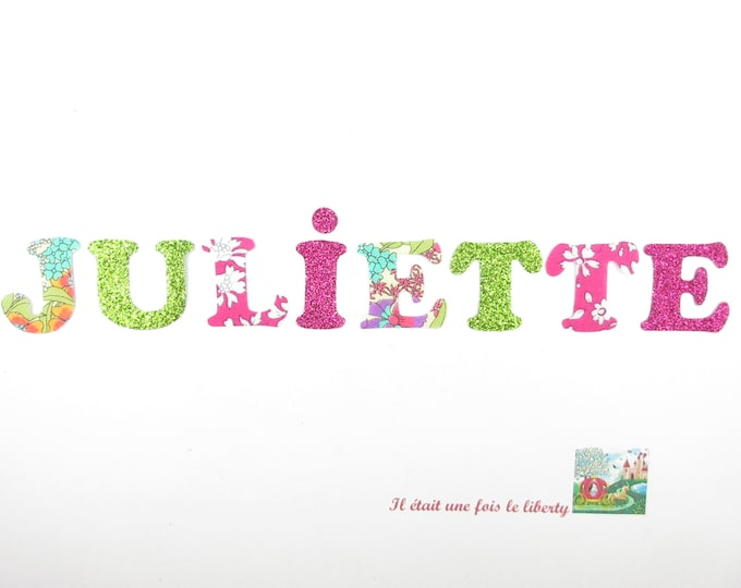 Applied fusing name customizable (Juliet) to 8 letters liberty Capel fuschia Ciara summer glitter flex