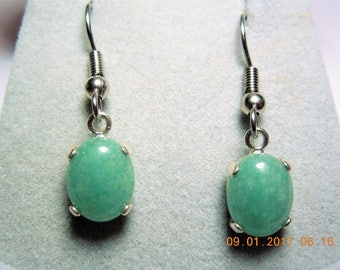 Chalcedony Dangle Earrings Set in .925 Sterling Silver; Chalcedony Earrings