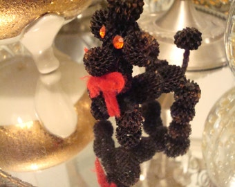 Vintage Miniature Black Pine-cone Poodle Red Rhinestone Eyes - Unique - Adorable - Excellent Condition!!