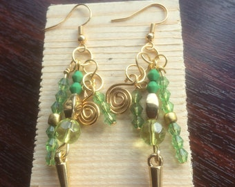 Fantasy green and gold chandelier earrings.