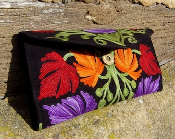 "Black or Grape Kashmir Crewel Embroidered Smaller Clutch Purse 8 x 4""  Hand made 20 x 10 cm"