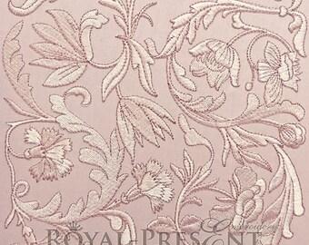 Machine Embroidery Design Vintage floral decor