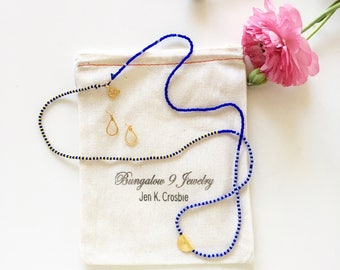 Unique Hand Strung Indigo Blue & Yellow Beads Necklace with Tribal Pendant