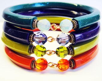 Summer Brights Polymer Clay Set of 4 Stackable Bangles