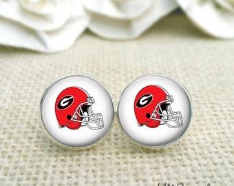 University of Georgia Earrings, Georgia Bulldog Earrings, UGA Jewelry, UGA Earrings
